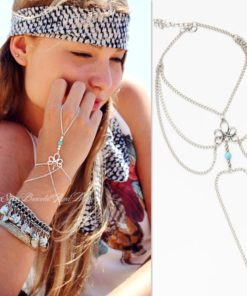 Bohemian Hand Slave Chain Jewelry With Fleur De Lis Accent