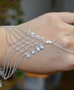 Ball Chain Hand Slave Jewelry With Lattice Design And Rhinestone