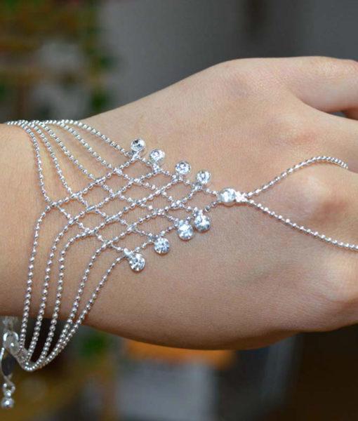 Ball Chain Hand Slave Jewelry With Lattice Design And Rhinestone