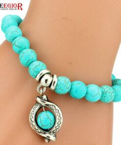 Vintage Beaded Turquoise Charm Bracelet