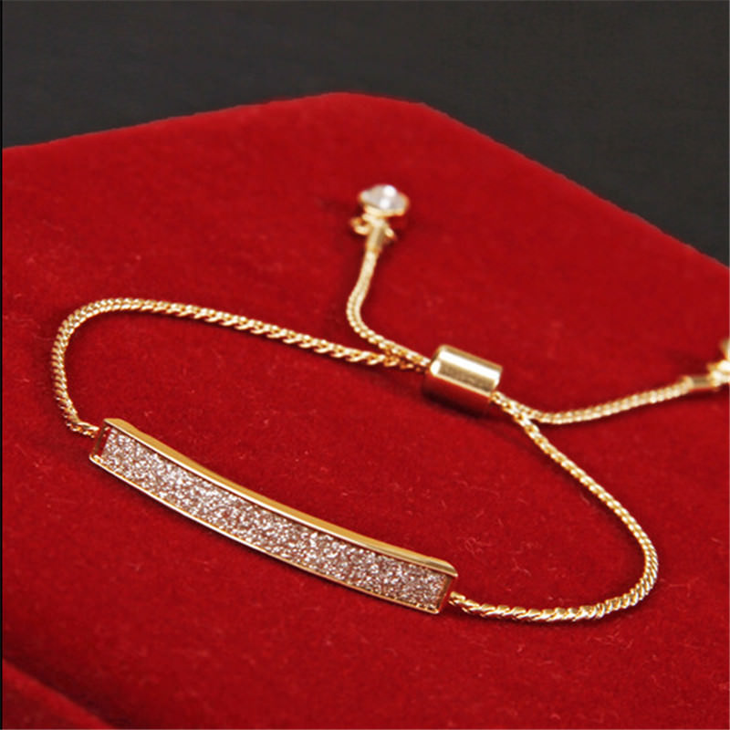Unique Micro Paved 18K Gold/Silver Plated Chain Bracelet Jewelry