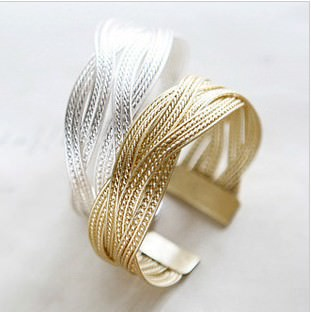 18K Gold/Silver Plated Twisted Cuff Fashion Bracelets