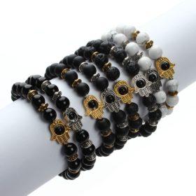 Natural Stone Hamsa Bead Elastic Yoga Bracelet