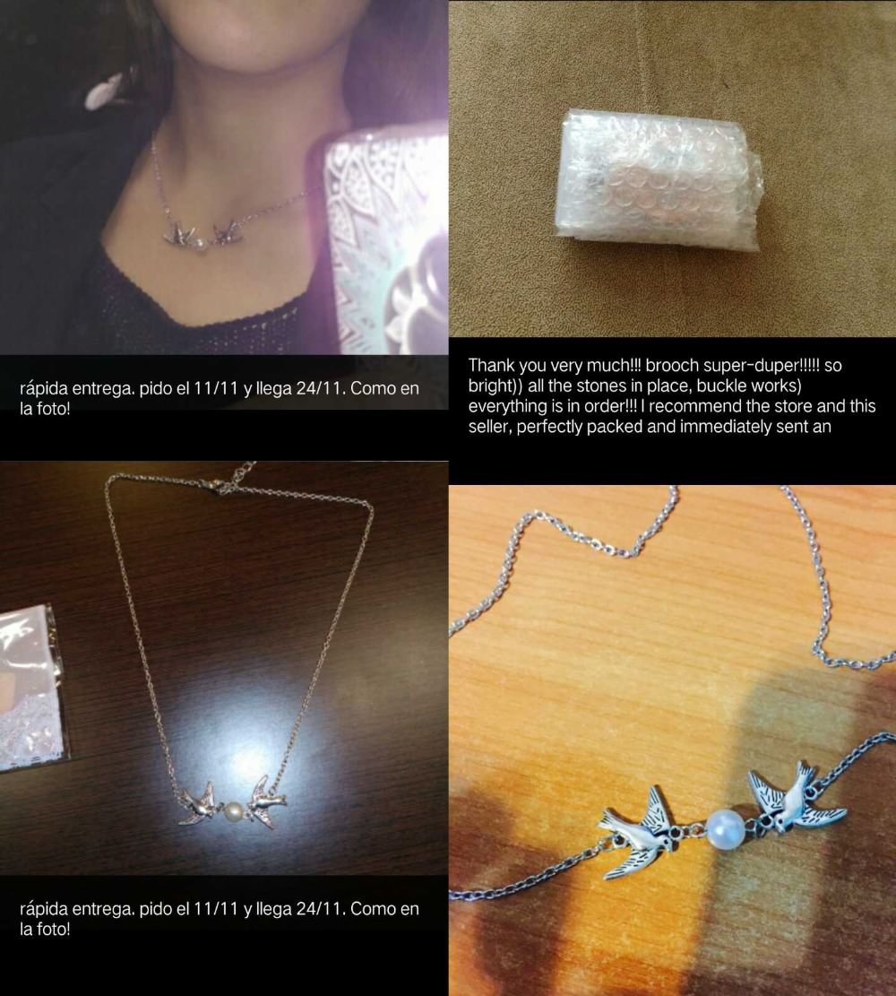 f4260048ab69a Classy Silver Chain Lovebirds Pearl Necklace Jewelry
