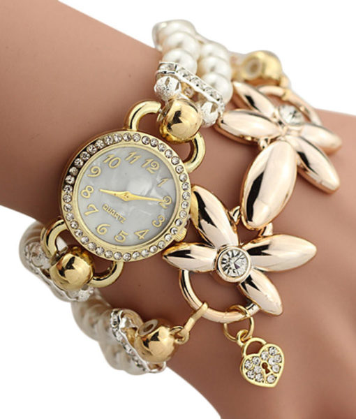 Watch Bracelet Jewelry With Pearls And Cubic Zirconia