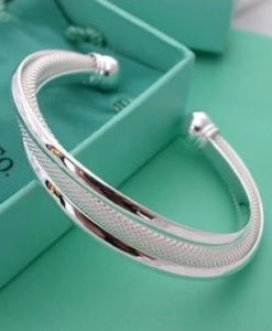 Silver Plated And Mesh Bangle Bracelet