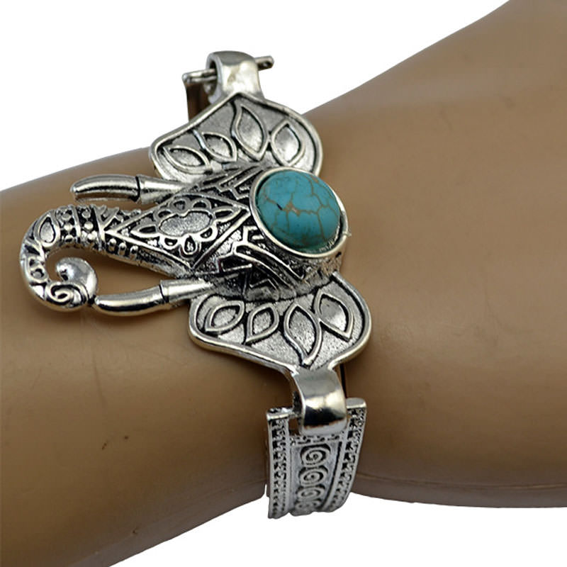 Vintage Retro Silver Bracelet Jewelry With Various Turquoise Accent