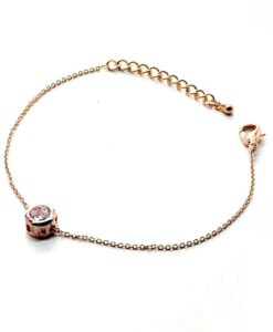 Thin Chain Bracelet With Round Zircon Accent