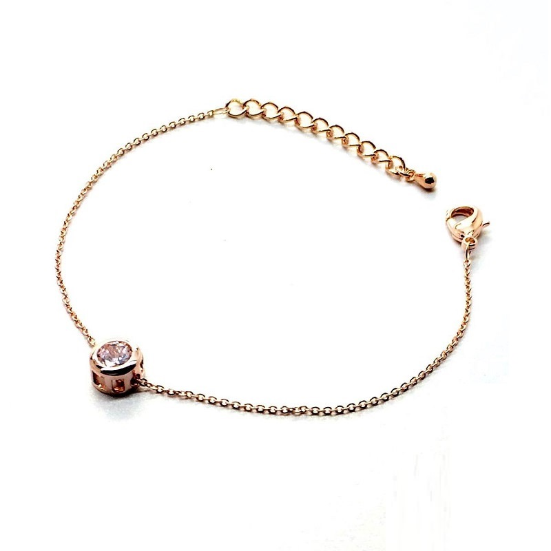 Gold Plated Thin Chain Bracelet With Round Zircon Accent