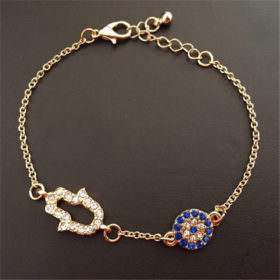 Vintage Cubic Zircon Diamond Hamsa And Evil Eye Bracelet Jewelry