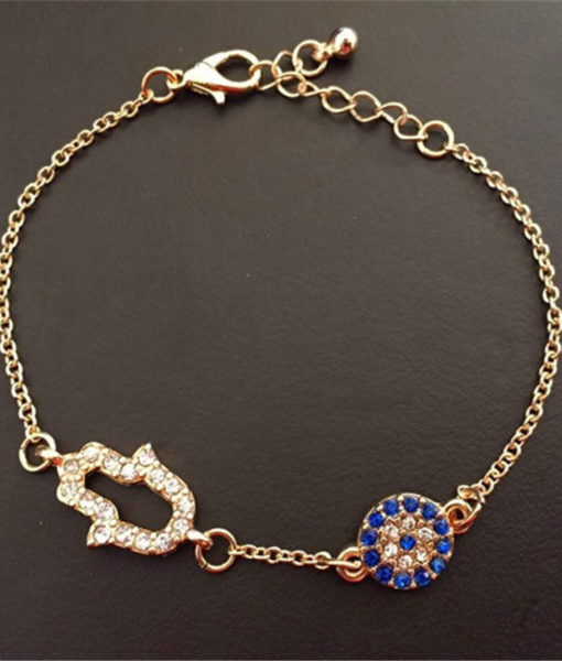 Diamond Hamsa And Evil Eye Bracelet