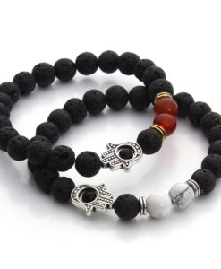 Black Lava Beaded Yoga Bracelet With Hamsa Charm