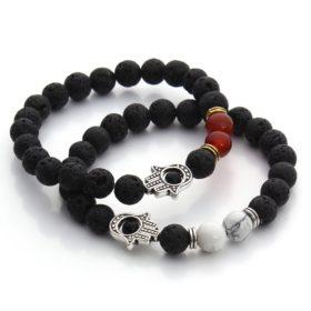 Black Lava Beaded Yoga Bracelet With Hamsa Charm