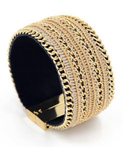 Leather And Gold Chain Bracelet Bangle With Magnetic Clasps