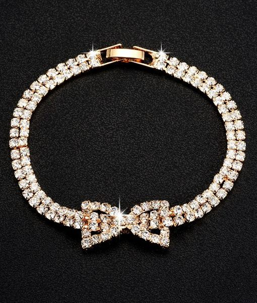 Rhinestone Chain Bracelet with bow accent