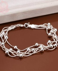 Multilayer Silver Plated Snake Chain Bracelet With Beads