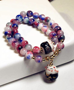 Lucky Cat Natural Stone Beaded Multilayer Bracelet