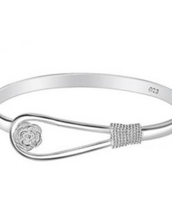 Flower Bangle Silver Bracelet
