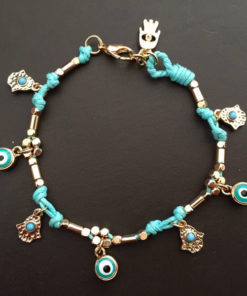 Ancient Hamsa And Big Eye Charm Bracelet