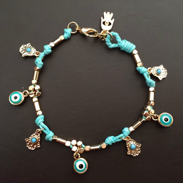 Ancient Hamsa And Big Eye Charm Bracelet