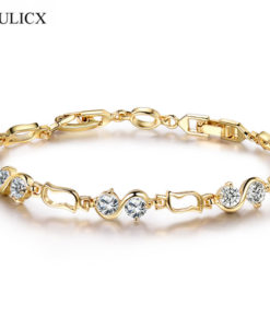 Chain Link Bracelet Jewelry With Cubic Zirconia Crystals