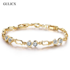 Ornate Chain Link Bracelet Jewelry With Cubic Zirconia Crystals