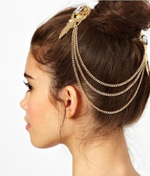 Hair Clip Head Jewelry With Feather And Crystal