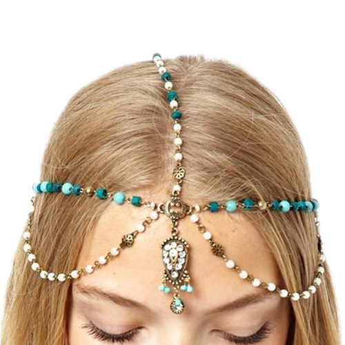 Head Jewelry With Beads, Pearls And Rhinestones