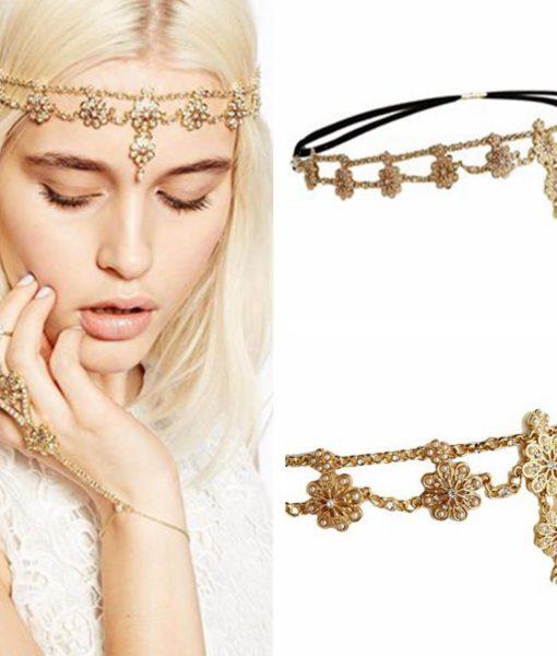Flower Pearl And Rhinestone Elastic Head Jewelry
