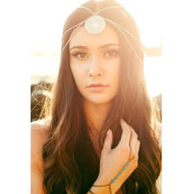 Vintage Chain Headpiece With Mandala Accent Pendant