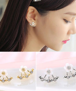 Korean Floral Ear Jacket Earrings