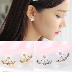 Korean Floral Ear Jacket Earrings