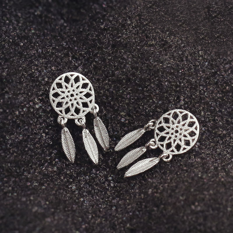 Metal Feathered Dreamcatcher Push Back Earring