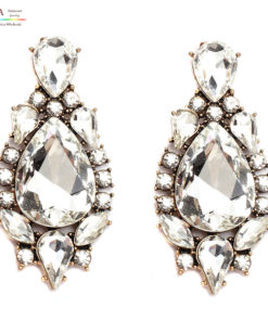 Large Crystal Tear Drop Push Back Earring
