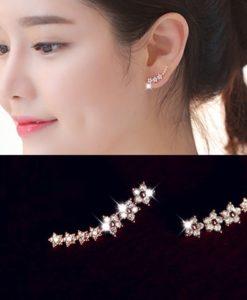 Floral Gem Star Cuff Earring