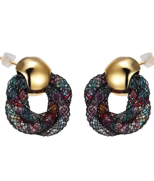 Stylish Crystal Mesh Push Back Earring