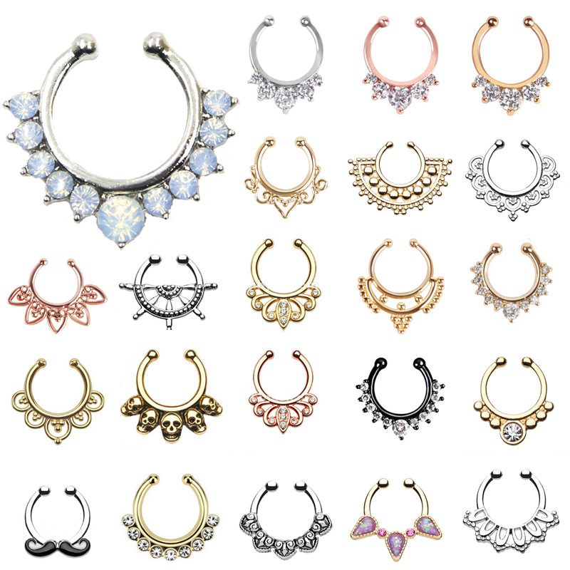 Hot sale variety of unique vintage fake septum jewelry for for Types of body jewelry rings