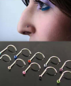10 pc Assorted Color Rhinestone Nostril Rings