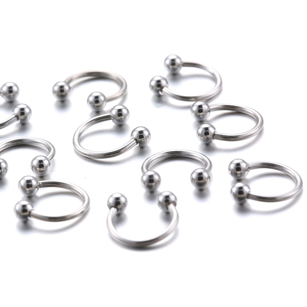10 pc lot horseshoe nose rings