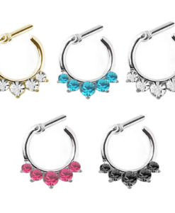 multicolor Rhinestone Crystal Septum rings