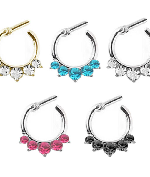 multicolor Rhinestone Crystal Septum rings