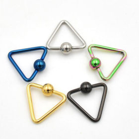 Lightweight Trendy Triangle Bead Ring Jewelry For Nose, Lip, Ears & Body
