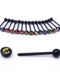 Soft Black Popular Logo Designed Labret Or Body Piercing Jewelry