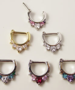 Ornate Gemmed Surgical Steel Crystal Septum Clicker Jewelry For Nose