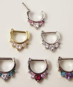 Ornate Gemmed Surgical Steel Crystal Septum Clicker Jewelry For Nose