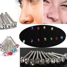 1 sheet/40pcs Rhinestone Crystal Straight Stud Nose Bone Jewelry