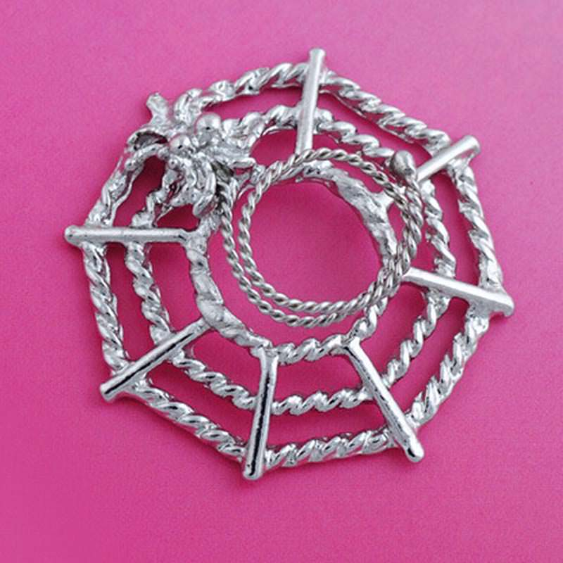 Surgical steel spider on web fake nipple body piercing jewelry for Types of body jewelry rings