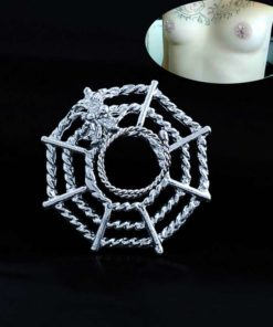 Surgical Steel Spider On Web Fake Nipple Body Piercing Jewelry