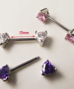 Elegant Heart Shaped Crystal Nipple Barbell Body Jewelry