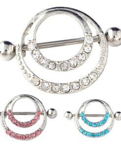 Trendy Double Ringed Nipple Shield Body Jewelry With Rhinestones